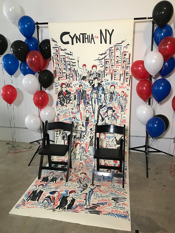 Backdrop for Cynthia for New Yok Fundraiser hosted by Everyoutfit on Sex and the City