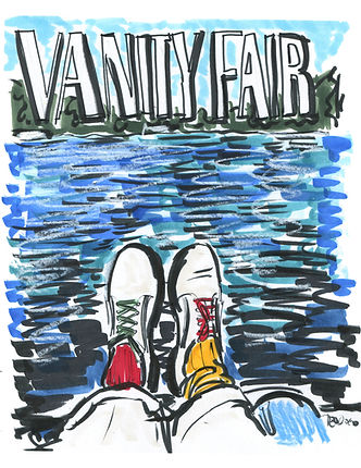 Hockney Vanity Fair Cover (2016) - pen and ink