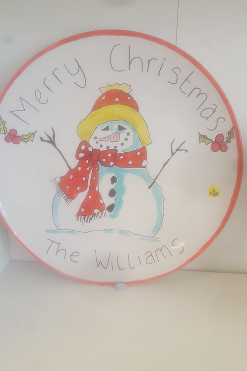 Snowman Personalised Plate
