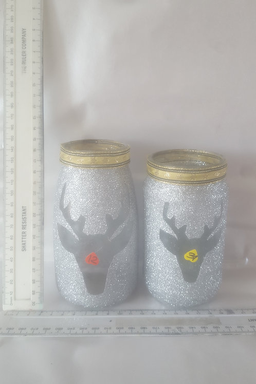 Reindeer glitter tea light jars