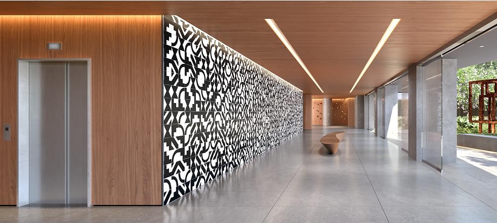Painel de 17m x 3m de Athos Bulcão que valoriza o lobby  residencial.
