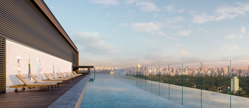 Painel Vik Muniz mosaico de 20mx2,5m especialmente pensado para a piscina no rooftop.