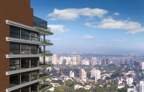 Apartamentos do 22º ao 27º andares. Living e terraço do apartamento de 266m2 no Alameda Jardins