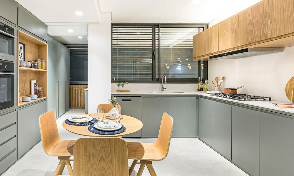 Cozinha do apartamento de 178m2 no Alameda Jardins