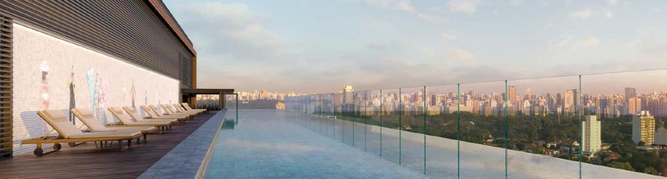 Mosaico de 20m x 2,5m de Vik Muniz pensado para a piscina no rooftop no Alameda Jardins