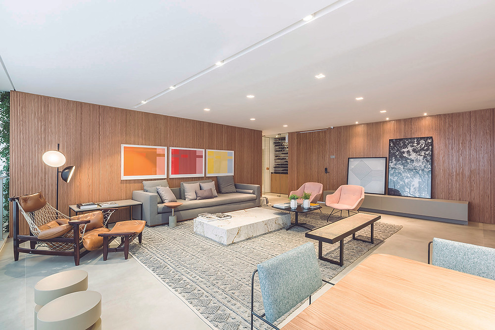 Living do apartamento de 178m2 no Alameda Jardins