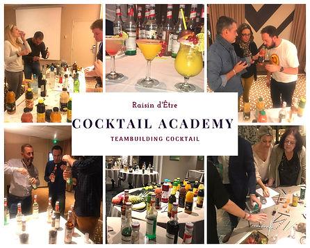 Teambuiliding cocktail Academy en PACA pour activité d'entreprise : création de cocktails en équipe : jus, alcools, liqueurs, sirops, bonbons et fruits.
