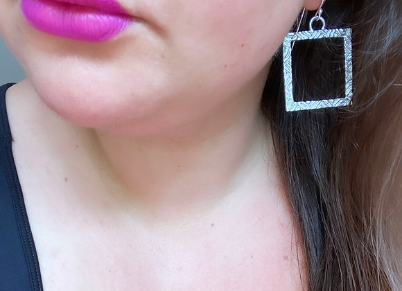 Swirly Square Hoops  (Large, MADE TO ORDER)