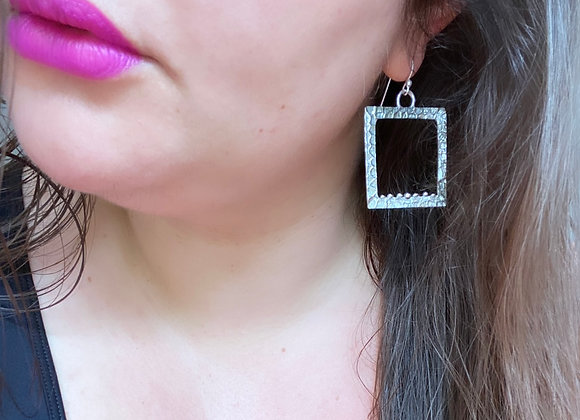 Rippled Square Hoops  (Large, MADE TO ORDER)