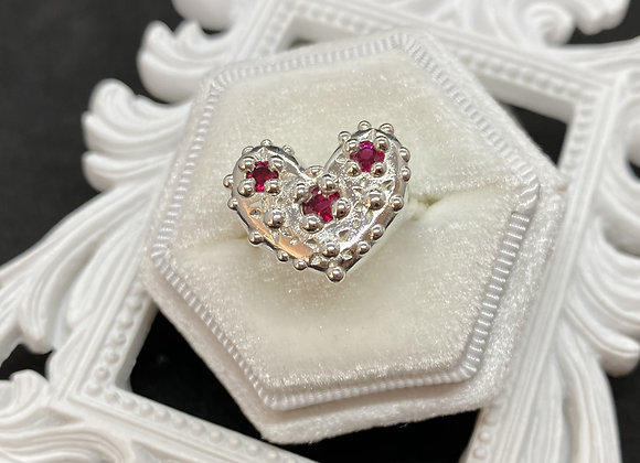Ruby Bead Heart Ring (Size N 1/2)