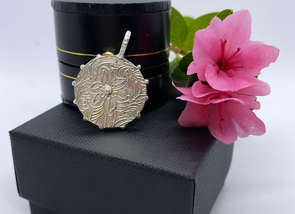 """Small """"Etched Flower"""" Pendant (MADE TO ORDER)"""