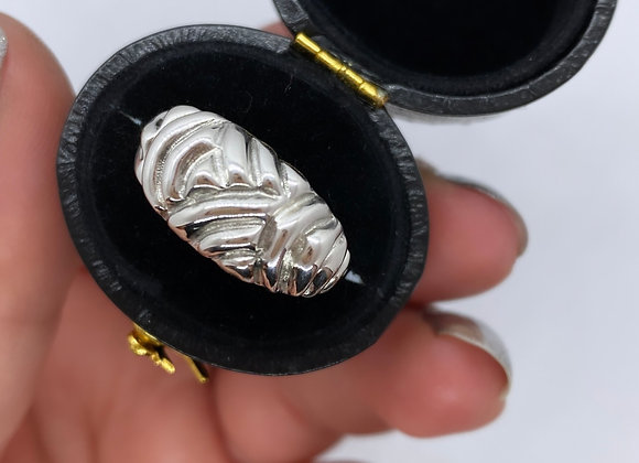 Silver Dainty Swirl dome ring (MADE TO ORDER)