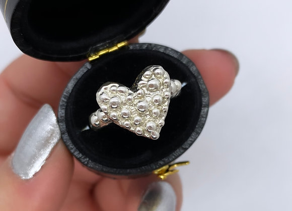 Silver Sugar Pearl Heart ring (MADE TO ORDER)