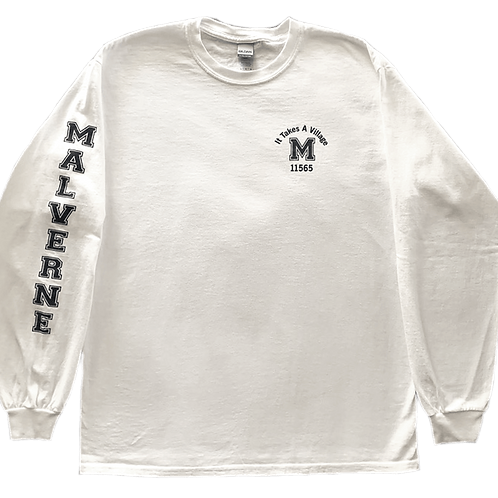 "Malverne ""It Takes a Village"" Long Sleeve in White"