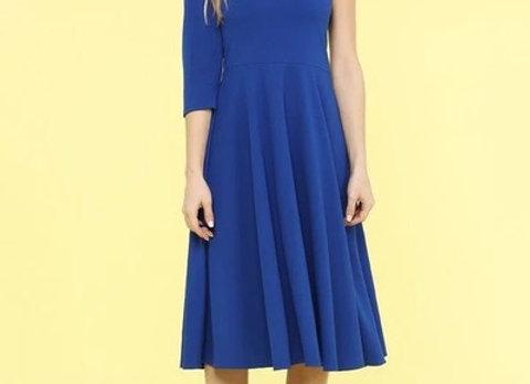 KT Designs Blue One Shoulder Dress