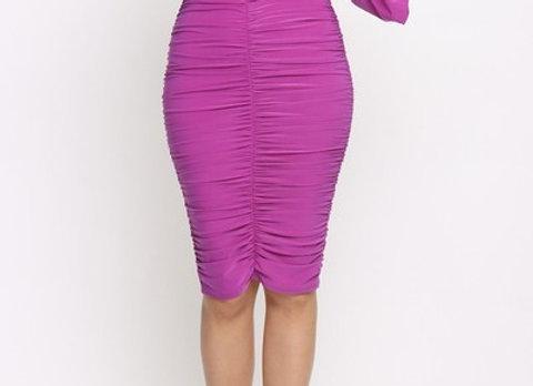 One Shoulder Magenta Dress