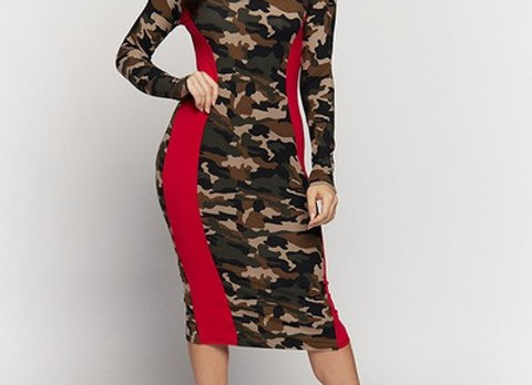 Camo and Red Color block Dress