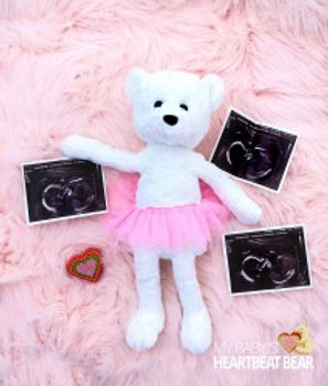 Ultrasound profile pictures next to a heartbeat bear