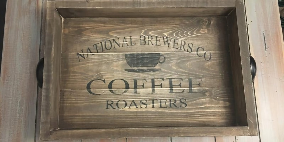 Rustic Coffee Tray/ Rustic Monogrammed Tray