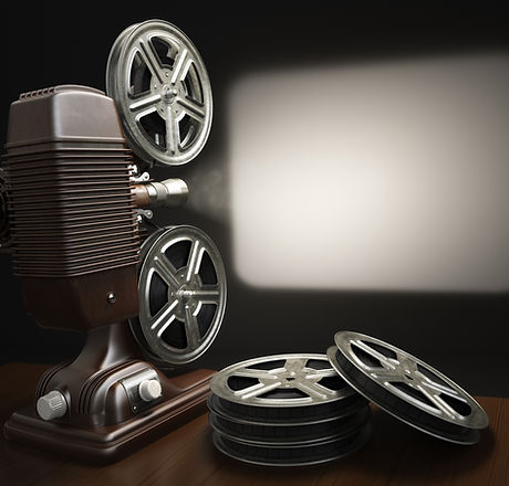 Cinema, movie or video concept. Vintage projector with projecting blank and reels of film. 3d.jpg
