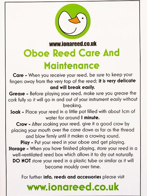 Oboe Reed Care Leaflet