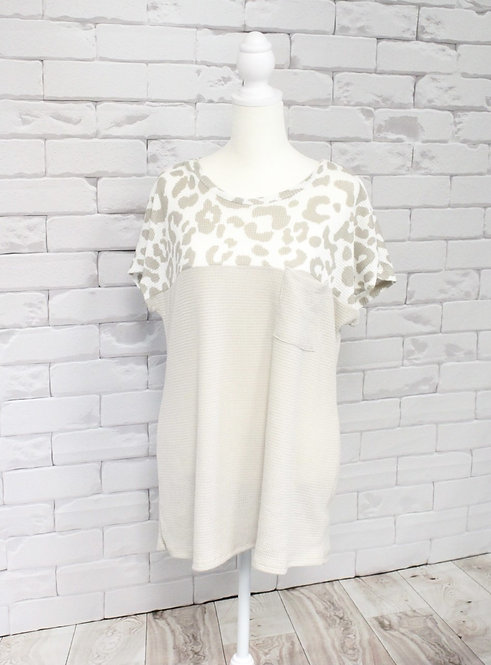 Taupe Color Block Leopard Waffle Knit Top