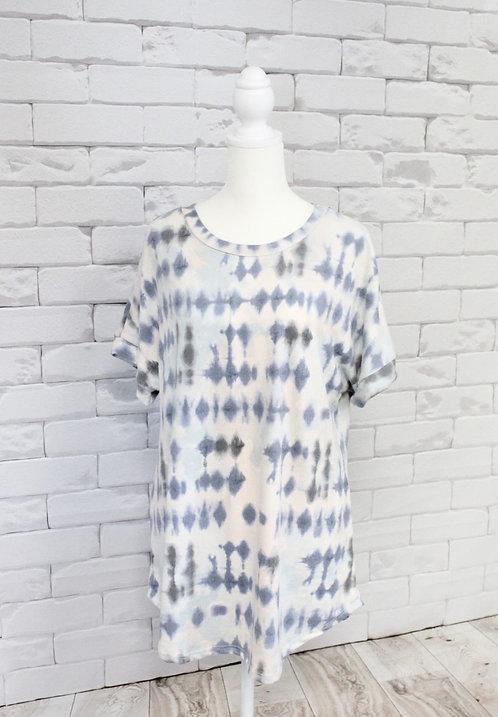 Mint/Blue Multi Tie Dye Print Top