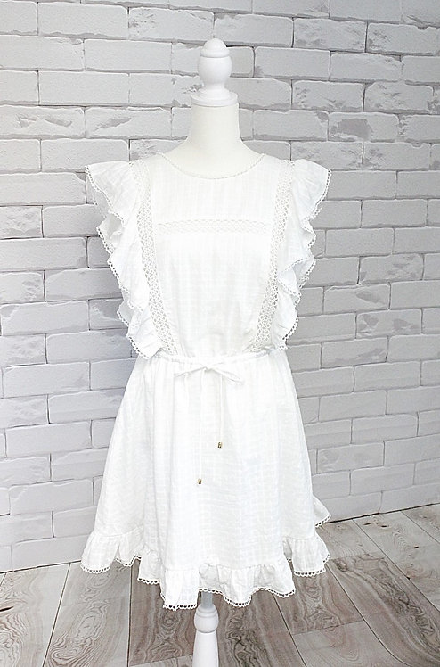 Tie Back White Lace Dress