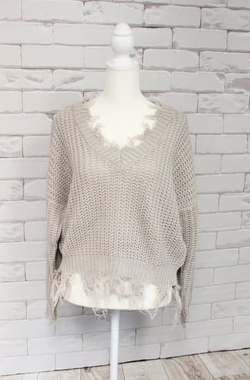 Truffle Distressed Sweater