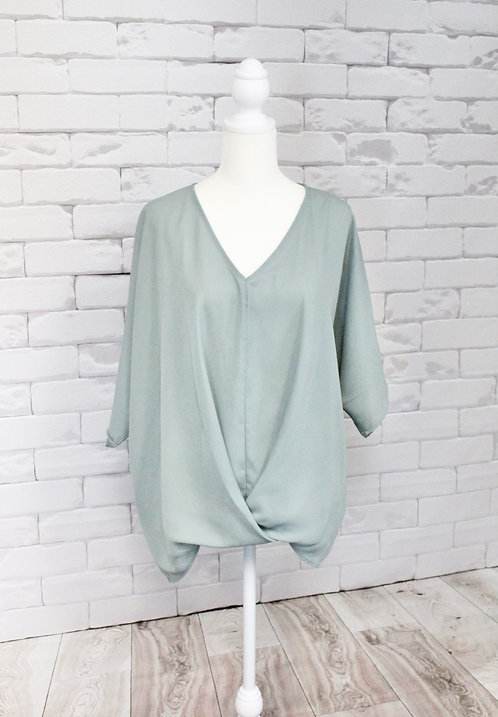 Sage Loose Fit Woven Sheer Top