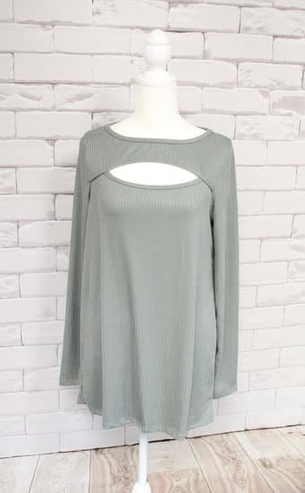Vintage Olive Rib Knit Top with Cut Out