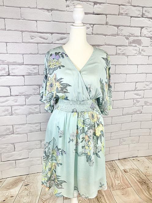 Mint Sage Floral Print Dress