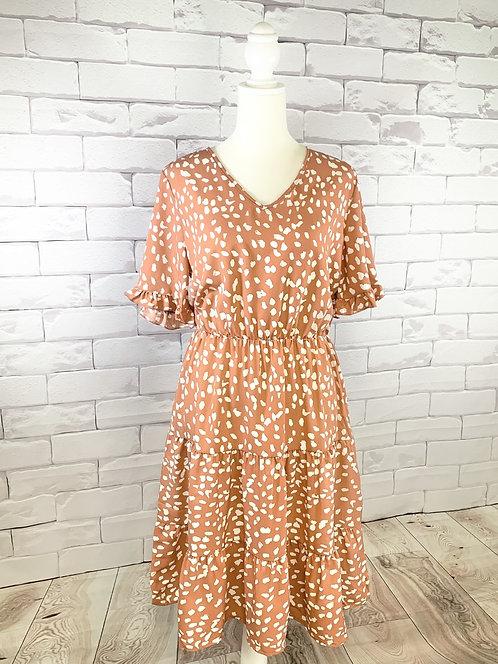 Deep Coral Polka Dot Dress