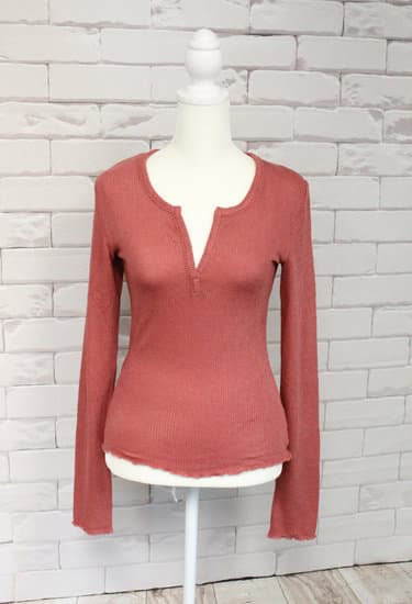 Terracotta Thermal Knit Long Sleeve Top