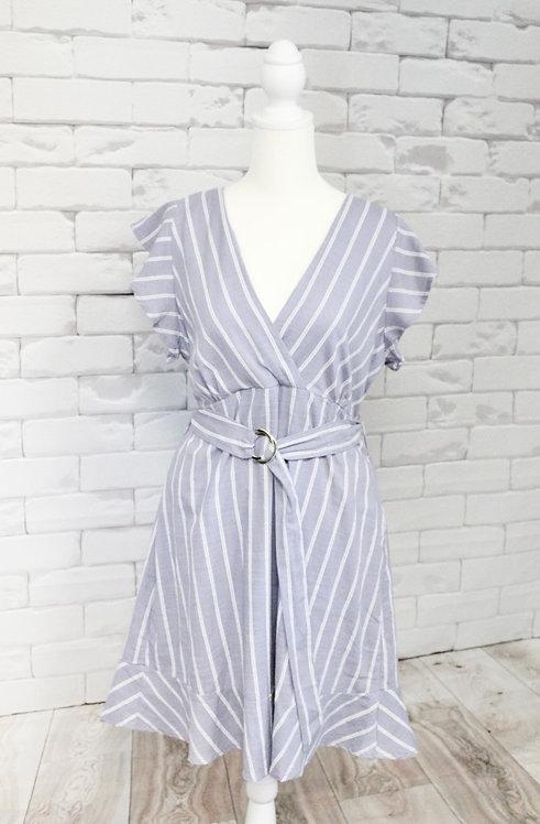 Lavender Belted Stripe Dress