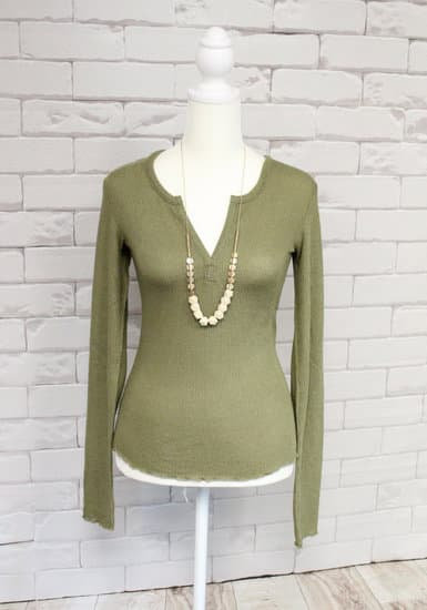 Olive Thermal Knit Long Sleeve Top