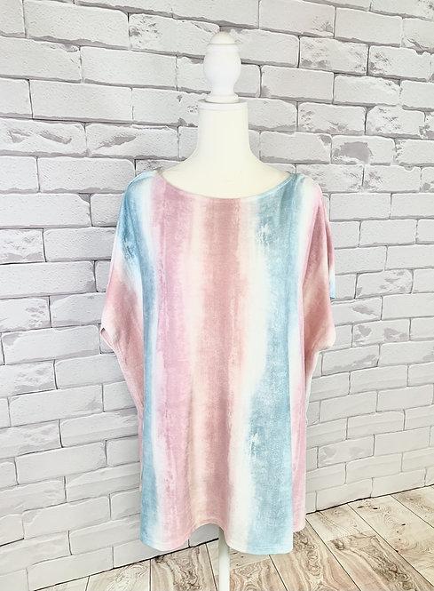 Pink/Blue Tie Dye Top