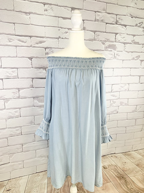 Denim Blue Smock Off the Shoulder Dress