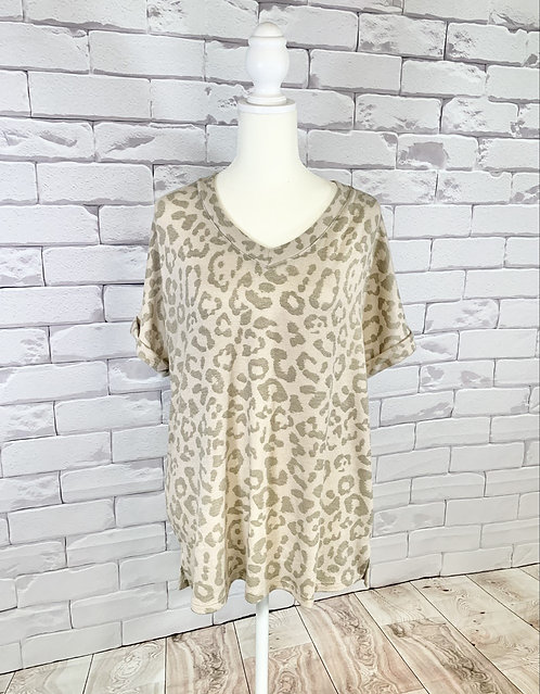 Taupe Leopard Print Top