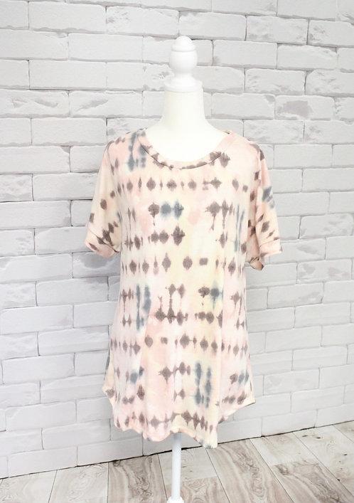 Peach Multi Tie Dye Print Top