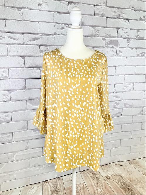 Mustard 3/4 Sleeve Polka Dot Top