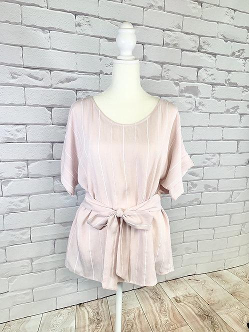 Light Pink Stripe Top with Belt