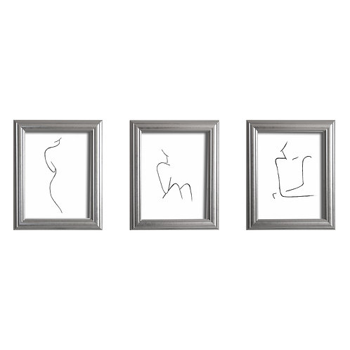 Set of 3 Female Silhouette Hand Painted Art Prints
