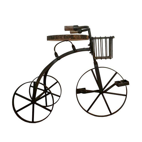 Tricycle Iron & Wooden Side Stool