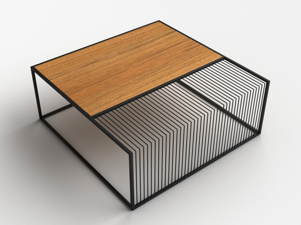 Wood and metal center table