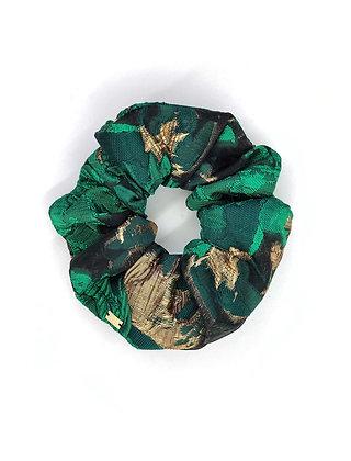 Elástico de Cabelo Scrunchie Jacquard Verde