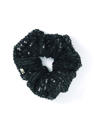 Elástico de Cabelo Scrunchie Paetê Preto