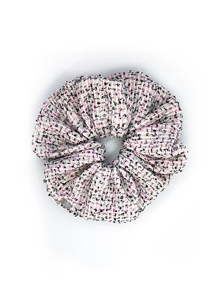 Elástico de Cabelo Scrunchie Tweed Rosa