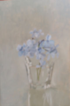 Painting of Plumgago in a glass ציור עפרית הכף פרח בכוס זכוכית