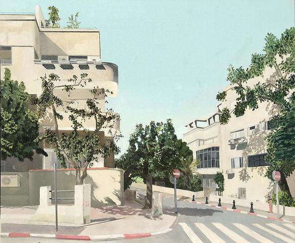 ציור תל אביב עיר לבנה קיץ בתים ועצים